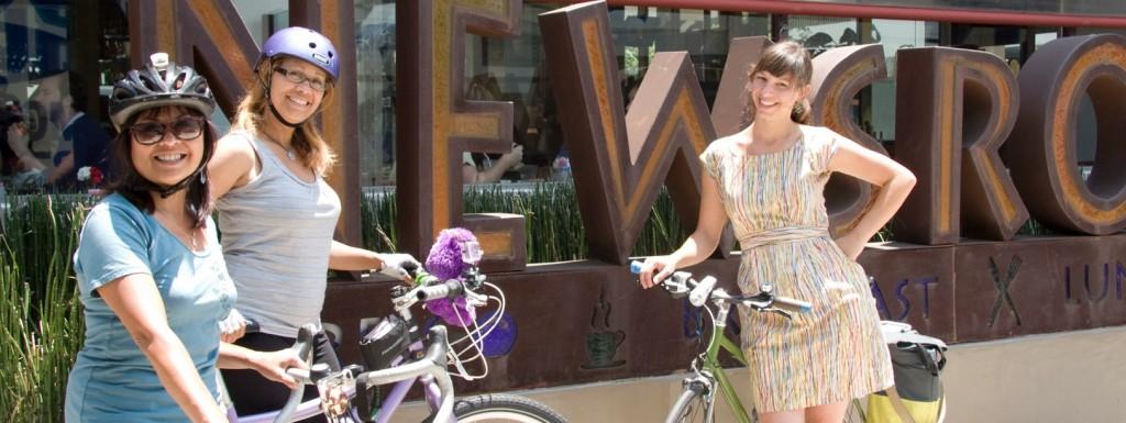 women on bikes banner